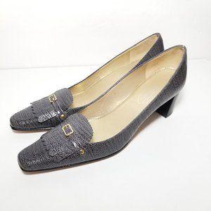 Talbots leather snakeskin embossed heels sz 6 N